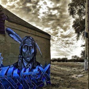 Art on building of Native American from artist Sintex